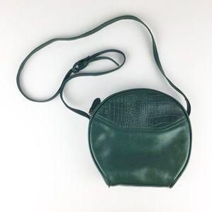 VTG Forest Green Leather Round Mini Crossbody Bag
